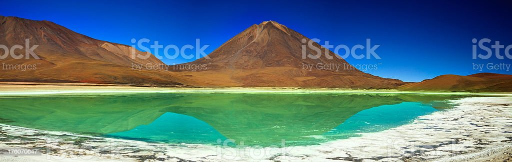 Licancabur Volcano and Laguna Verde Panorama stock photo