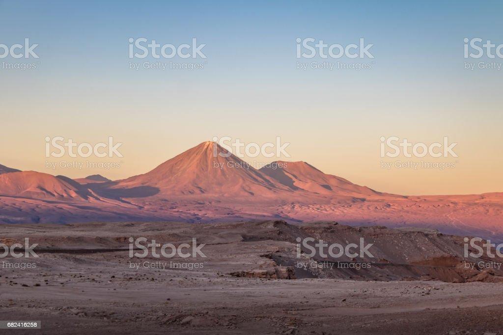Licancabur Volcano view from Moon and Death Valley - Atacama Desert, Chile royalty-free stock photo