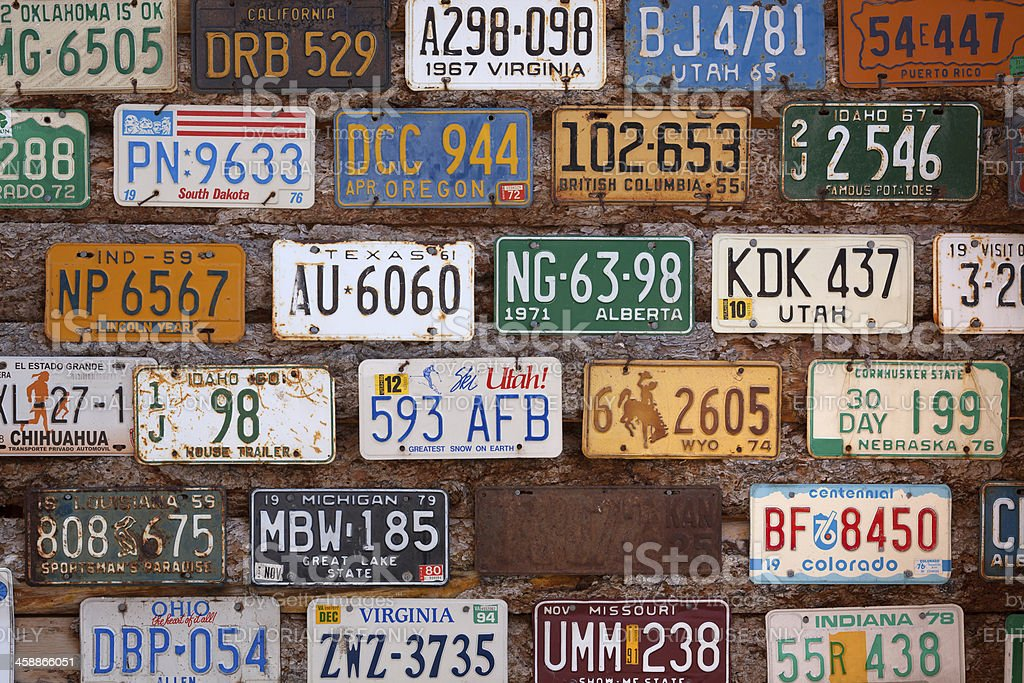 US license plates stock photo