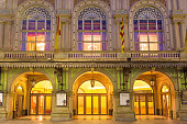 The entrance and facade of the Gran Teatre del Liceu or simply Liceu opera house located on La Rambla in Barcelona Catalonia Spain.