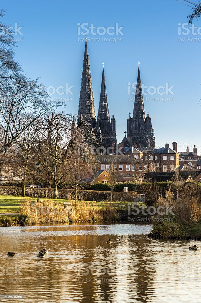 Lichfield Cathedral seen from Beacon Park stock photo