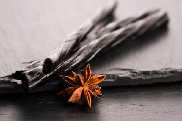 Licorice candy with star anise stock photo