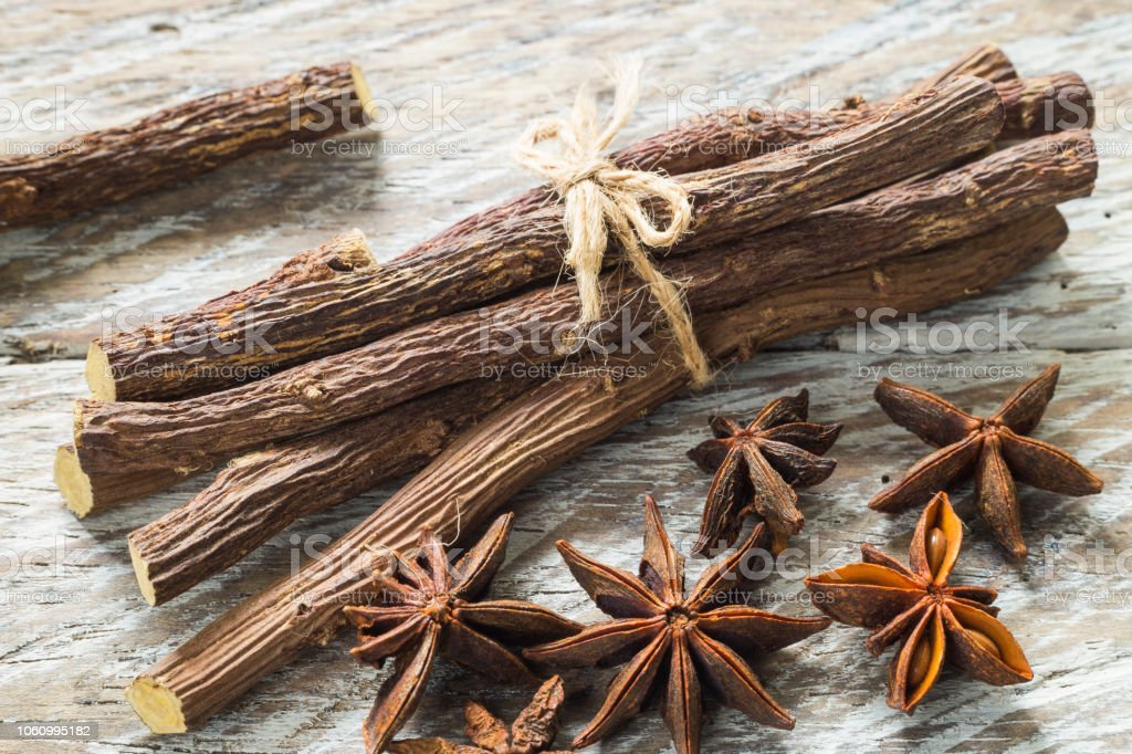 Licorice Root And Anise On The Table Glycyrrhiza Glabra Stock Photo -  Download Image Now - iStock