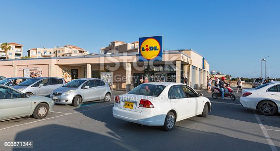 istock Lidl supermarket with parking lot in Paphos, Cyprus. 603871344