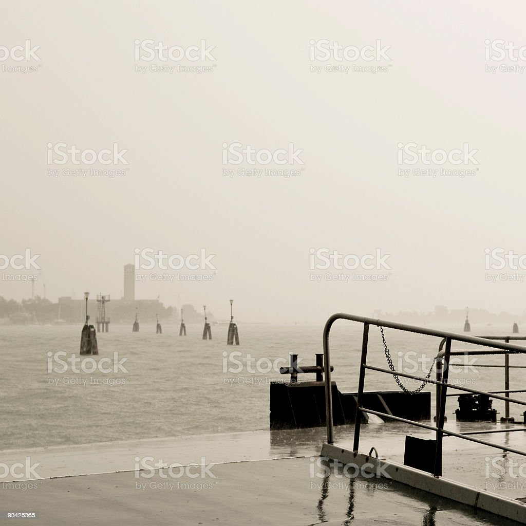 Lido Landing Stage in the Rain royalty-free stock photo