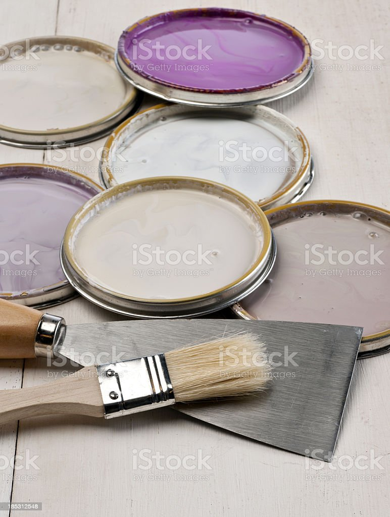 lids with pink, purple, white and lavender paint royalty-free stock photo