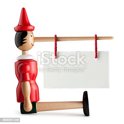 Pinocchio with blank placard hanging on the nose on a white background.