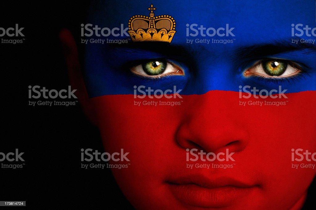 Liechtenstein flag boy royalty-free stock photo