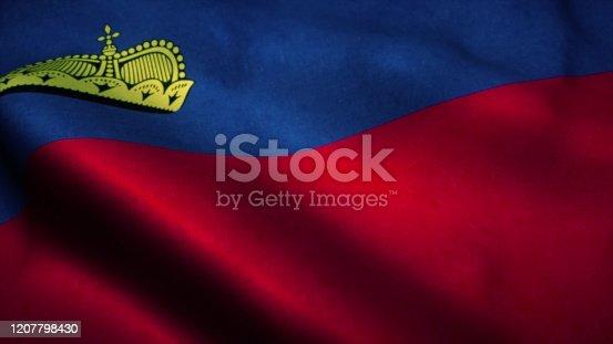 1125774238 istock photo Liechtenstein flag waving in the wind. National flag of Liechtenstein. Sign of Liechtenstein. 3d rendering 1207798430