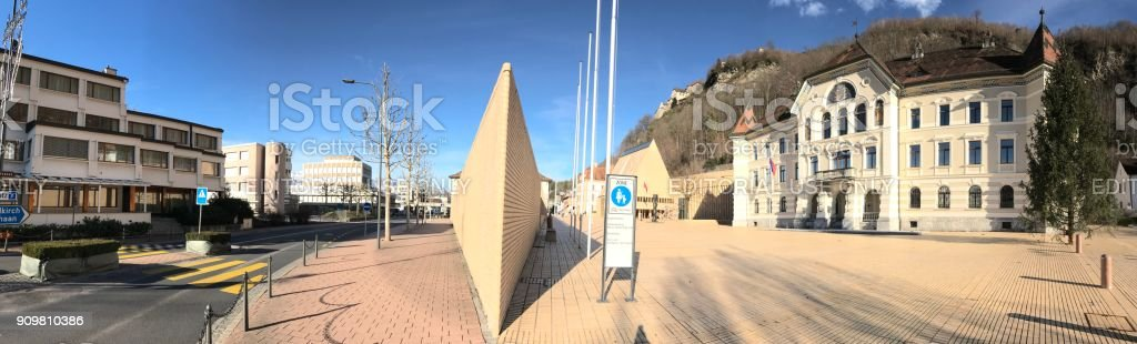 Liechtenstein National Archives and Government Building. Panorama stock photo