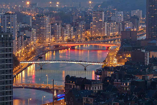 Liege at night  meuse river stock pictures, royalty-free photos & images