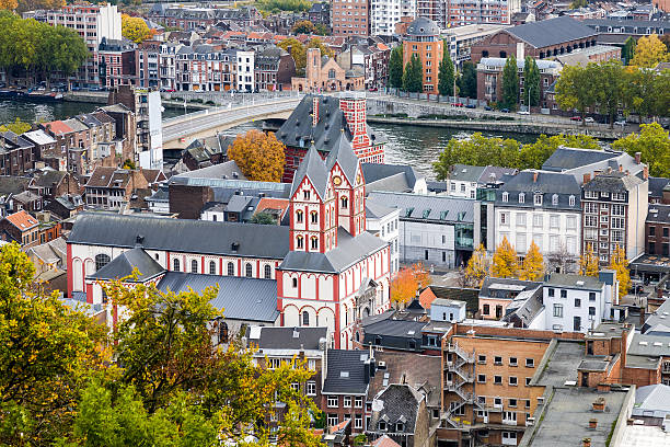 Liege Cityscape, belgium An aerial view on the city of Liege in the Wallonia region of Belgium with Saint Bartholomew church and Curtius Museum lulik stock pictures, royalty-free photos & images