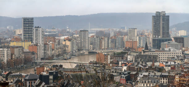 Liege cityscape panorama Beautiful cityscape panorama view of the skyline of Liege, Belgium, with the river Meuse on a rainy winter day seen from the top of the Montagne de Bueren meuse river stock pictures, royalty-free photos & images