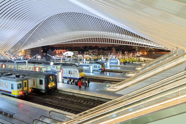 Liege station overview Liege, Belgium - December 12, 2014: Beautiful interior view of the modern architecture railway station Liege-Guillemins by Calatrava with people commuting and travelling in Liege, Belgium, on December 12, 2014 lulik stock pictures, royalty-free photos & images
