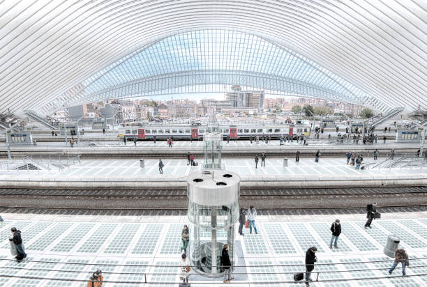 Liege Train Station Belgium Liege Central Train Station by architect Santiago Calatrava, Belgium taken in October 2013 lulik stock pictures, royalty-free photos & images