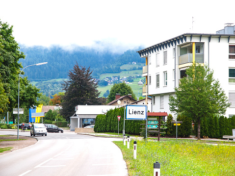 Lienz road sign entering the town in Austria