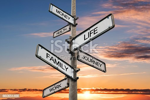 istock Life balance choices signpost, with sunrise sky backgrounds 660654466