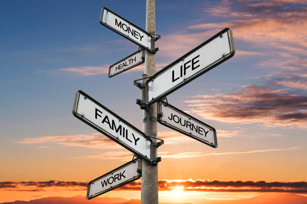 Life balance choices signpost, with sunrise sky backgrounds stock photo
