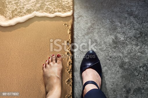 istock Life Balance concept for Work and Travel present in Top view position by half of Business Working Woman Shoes on Cement Floor and Female's Barefoot on Sand Beach 931577632