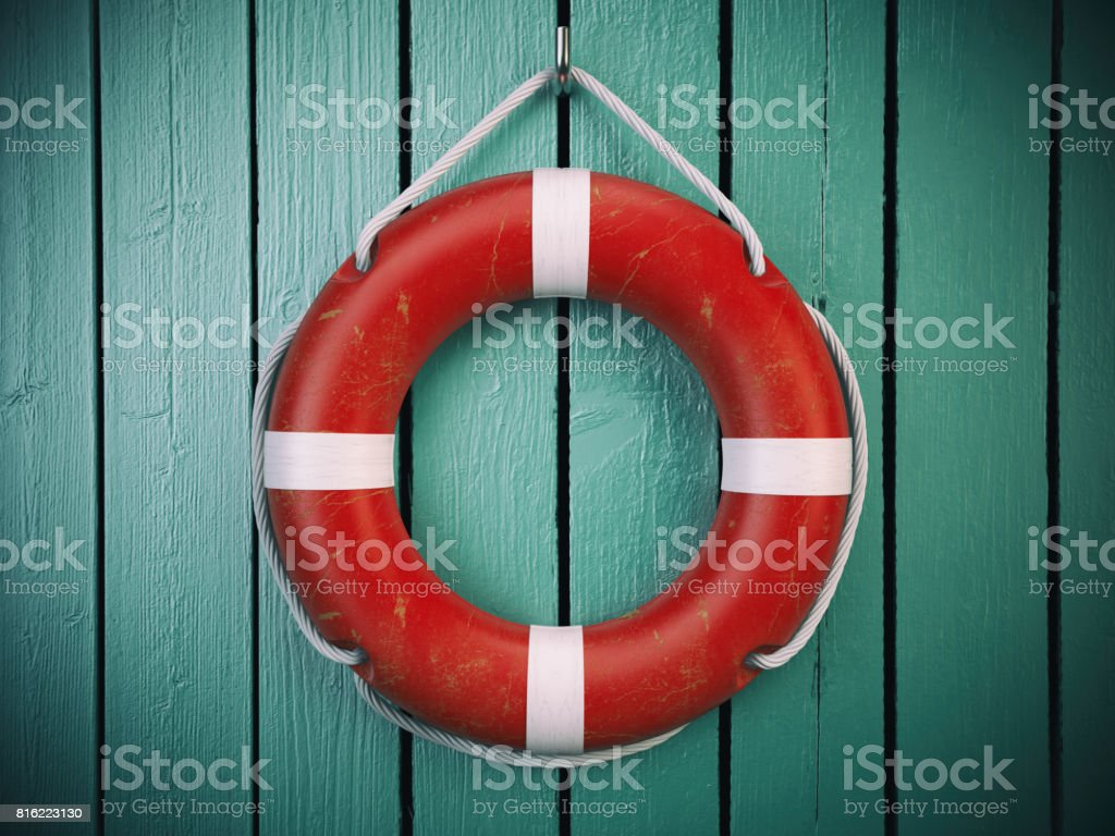 Life belt or rescue ring  on wooden wall. Salvation, protection and security concept. stock photo