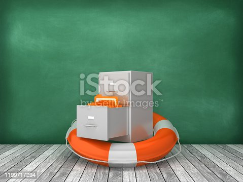 Life Belt with Archives on Wood Floor - Chalkboard Background - 3D Rendering