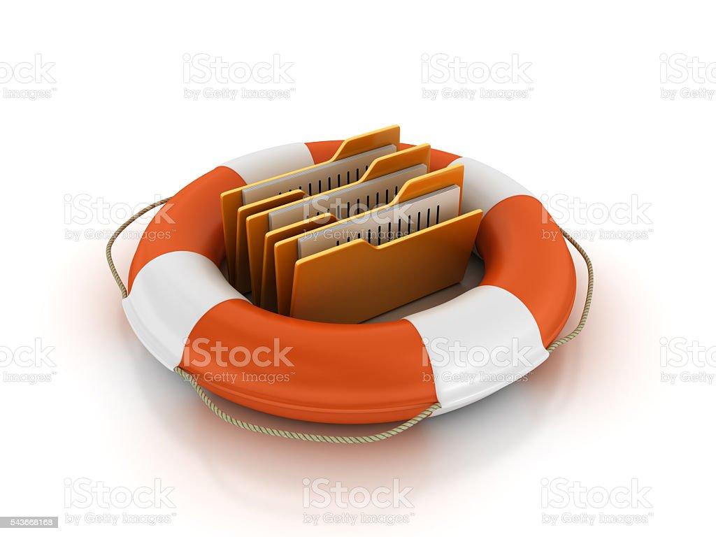 Life Belt with Computer Folders stock photo
