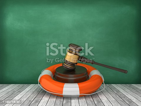 Life Belt with Gavel on Wood Floor - Chalkboard Background - 3D Rendering