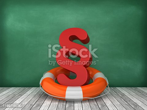 Life Belt with Paragraph Symbol on Wood Floor - Chalkboard Background - 3D Rendering