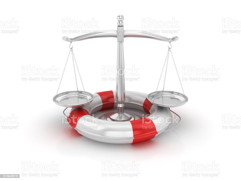Life Belt with Scales of Justice - 3D Rendering stock photo