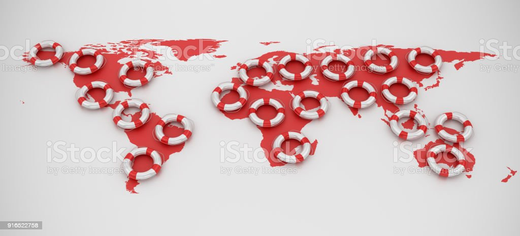 Life Belts World Map - 3D Rendering stock photo
