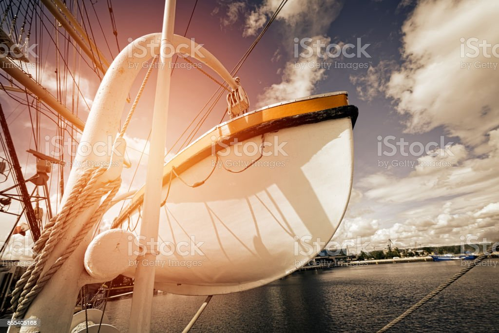 Life boat on sailing ship stock photo