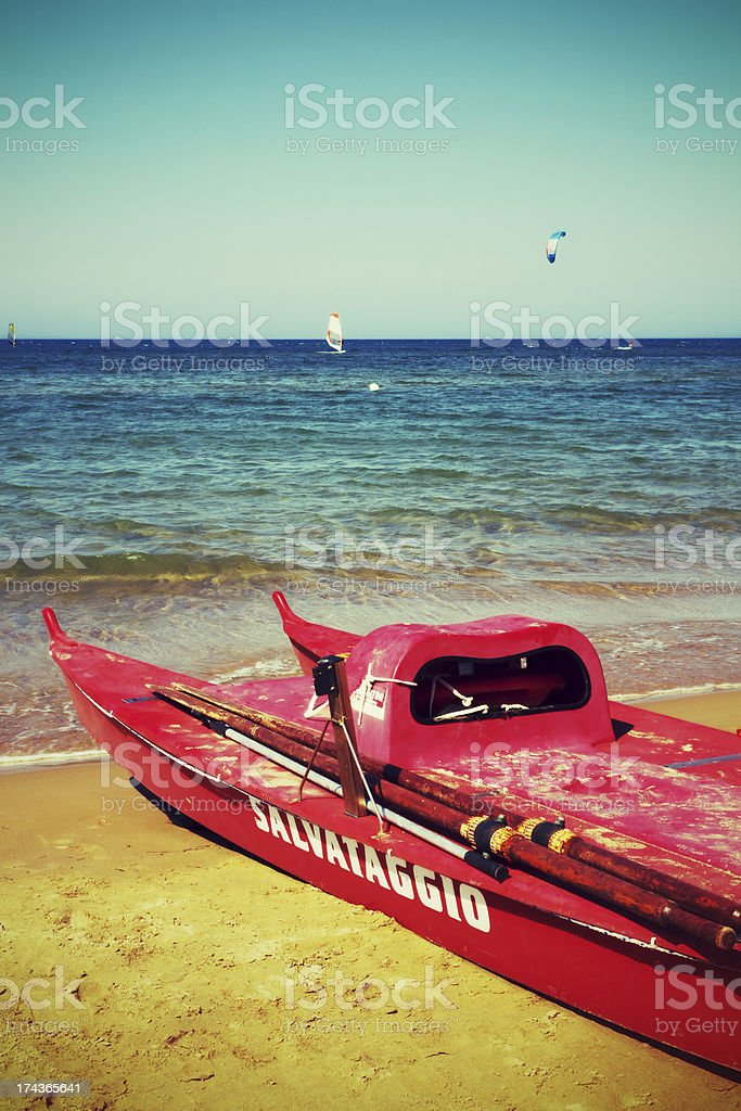 Life Boat on The Beach royalty-free stock photo