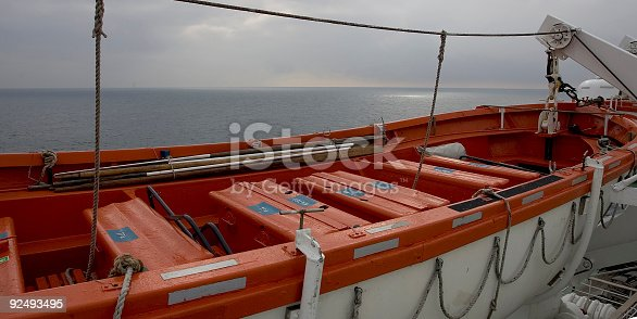 A life boat on an ocean going vessel