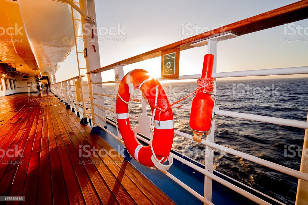 Life boat, preserver and Safety Beacon stock photo