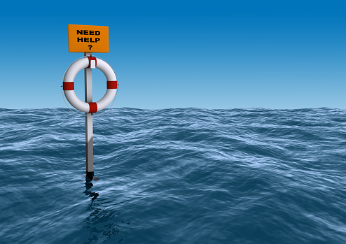 istock Life bout in middle of a rough des with sign Need Help? 151563057