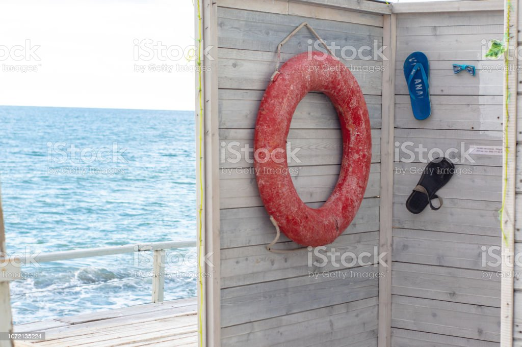 Life bouy in booth on Black Sea stock photo