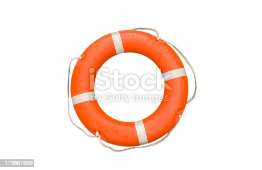 Isolated on white a life ring ready to go just add water