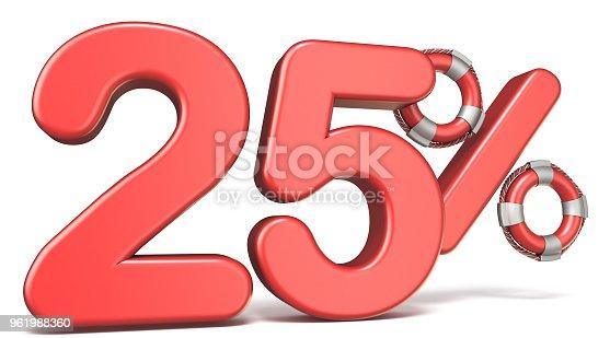 istock Life buoy 25 percent sign 3D 961988360