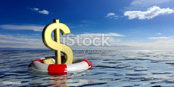 Life buoy and a dollar symbol on blue sea and sky background. 3d illustration