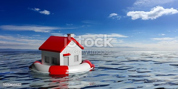 istock Life buoy and a small house on blue sea background. 3d illustration 1020803452