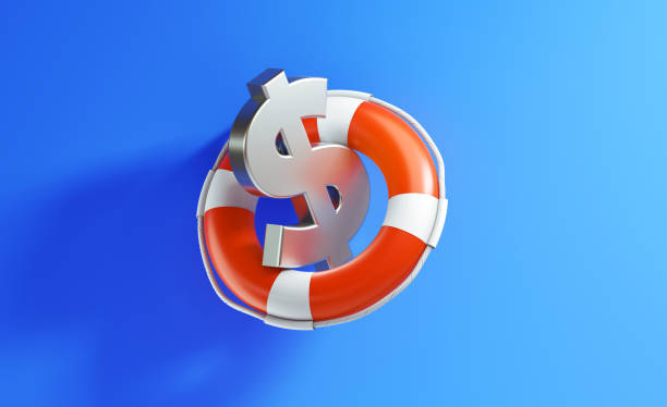 Life Buoy And American Dollar Sign On Blue Background Life buoy and American Dollar sign on blue background. Horizontal composition with copy space. emergency sign stock pictures, royalty-free photos & images