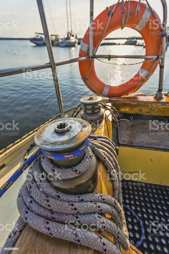 Life buoy attached to the cruise ship royalty-free stock photo