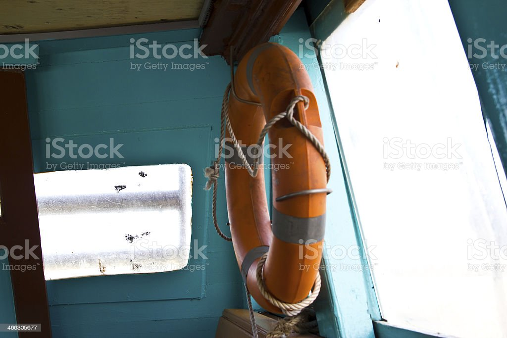 Life Buoy attached to Wooden Paneled Wall royalty-free stock photo