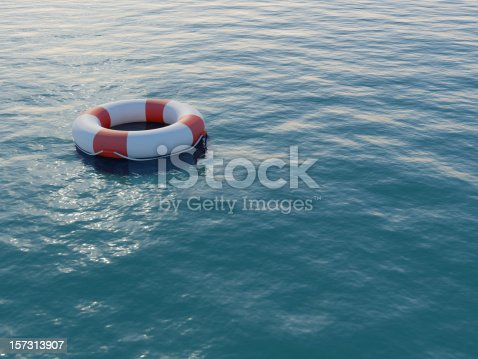 A life preserver in open blue water. High resolution 3D render.