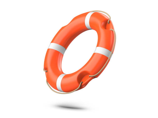 A life buoy for safety at sea, isolated on white background. 3d rendering of orange lifebuoy ring. A life buoy for safety at sea, isolated on white background. 3d rendering of orange lifebuoy ring buoy stock pictures, royalty-free photos & images