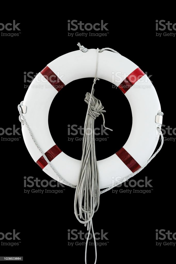 Life buoy in black background with clipping path stock photo