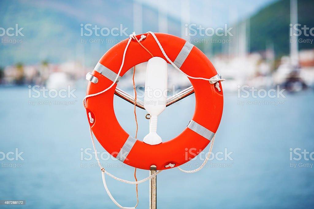 Life Buoy in Montenegro marina. stock photo