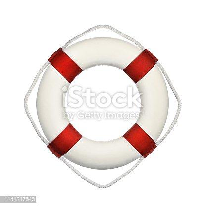istock Life buoy isolated on white background 1141217543