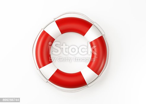 Life buoy isolated on white background. Horizontal composition with copy space. Clipping path is included.