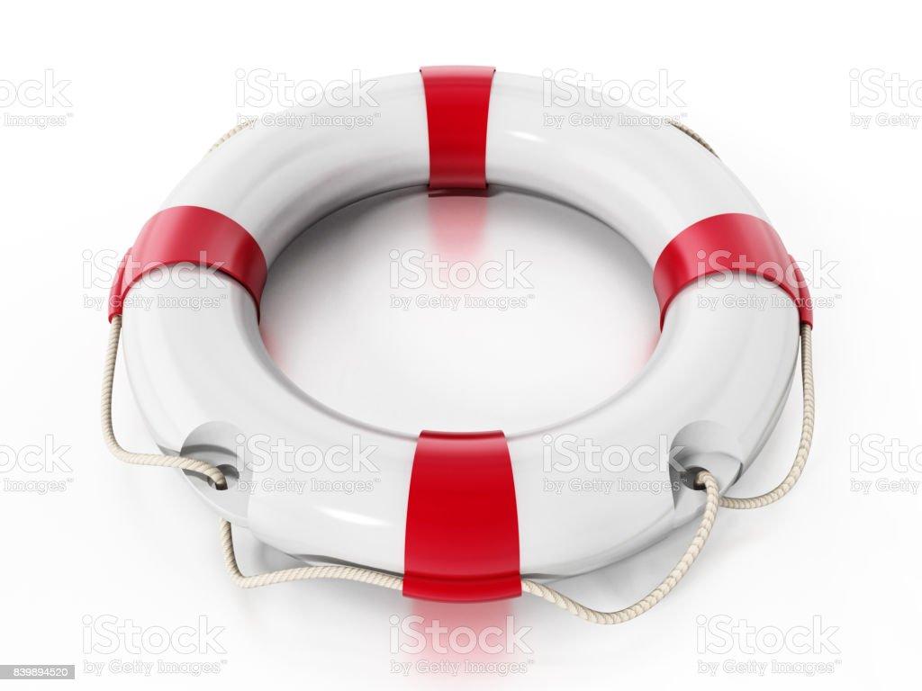 Life buoy isolated on white. Soft reflection on the surface stock photo